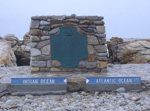 The stone marker on the shoreline at Cape Agulhas showing where the oceans meet