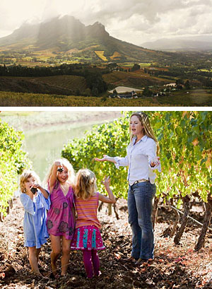 Bartinney - 'wine on a mountain' - with views that let the brain breathe!  Below: Rose Jordaan and their three daughters.