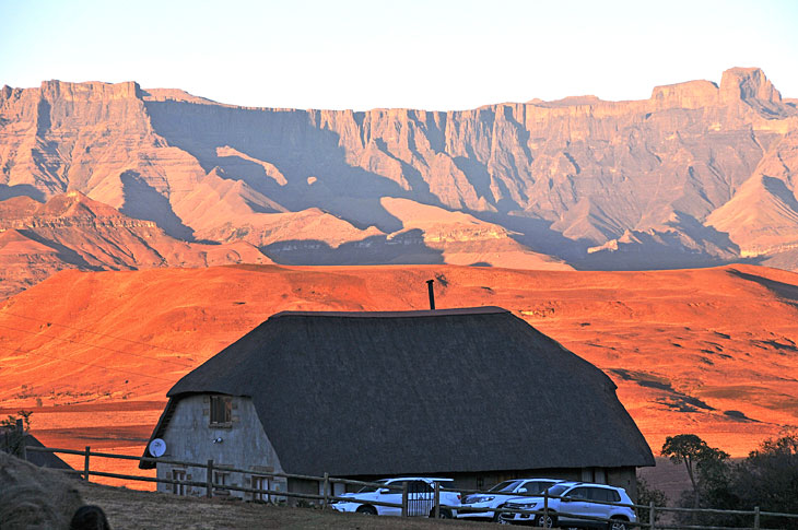 The Berghouse with its view of the Amphitheatre, northern Drakensberg
