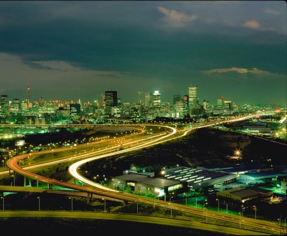 Johannesburg skyline at night