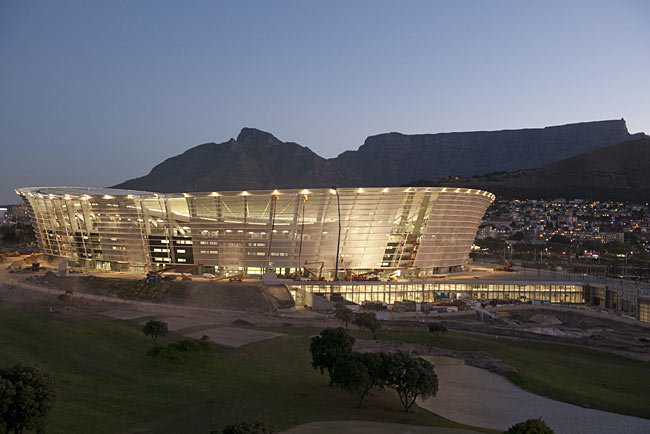 Cape Town Stadium under construction, with Table Mountain as its backdrop
