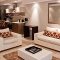 Canal Quays 506 Living room with flatscreen TV with compact DSTV