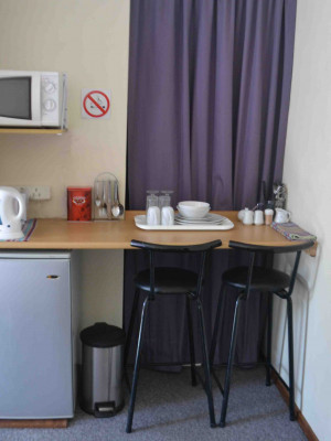 Lazy Lavender light self catering kitchenette